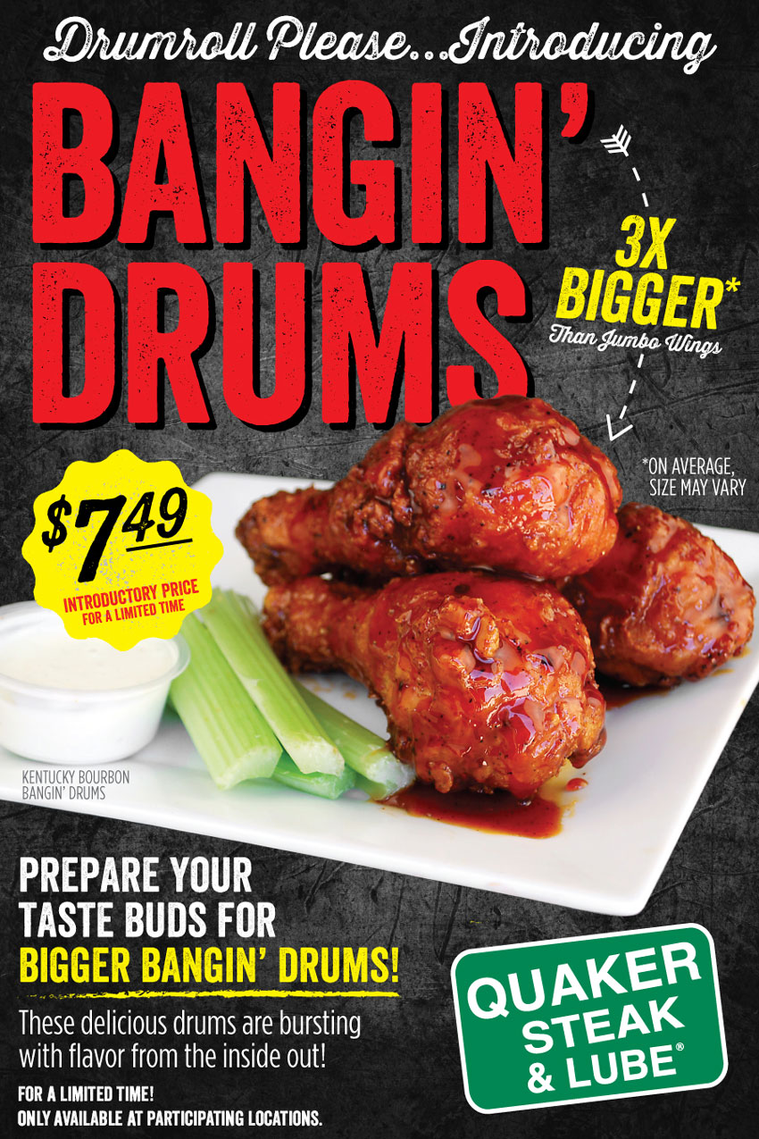 Bangin' Drums At Participating Quaker Steak & Lube Restaurants